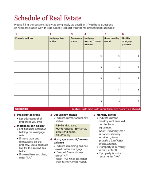 real estate schedule form