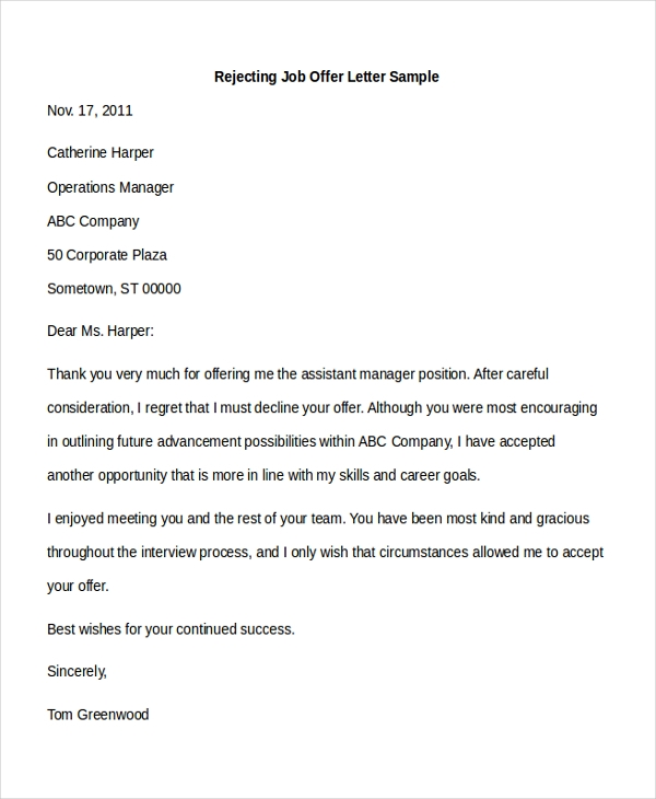 Sample Offer Letter   Free Documents In Pdf Doc