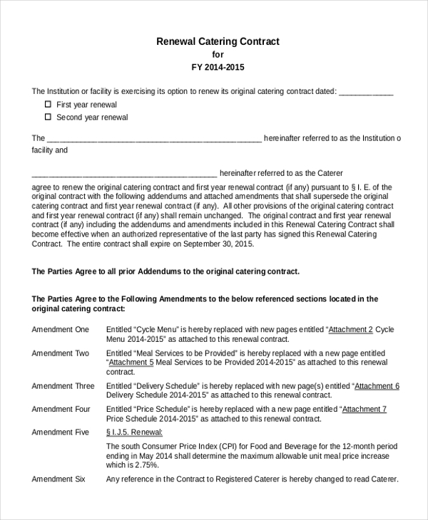 renewal catering contract form in pdf wedding catering contract sample