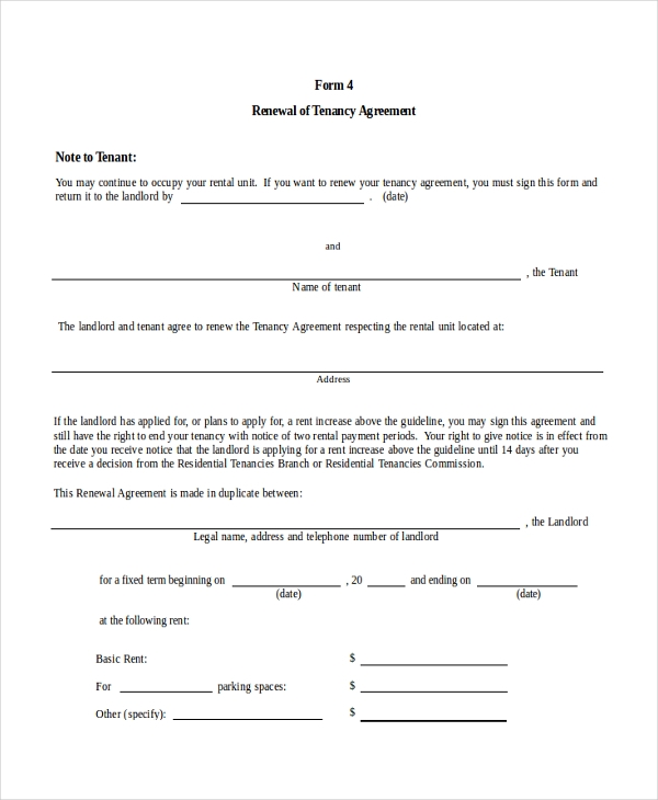 Rental Agreement Renewal Format Tenancy Agreement Renewal Template