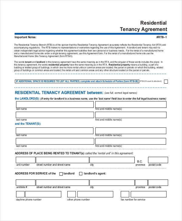 Tenancy Contract Template Free Copy Rental Lease Agreement