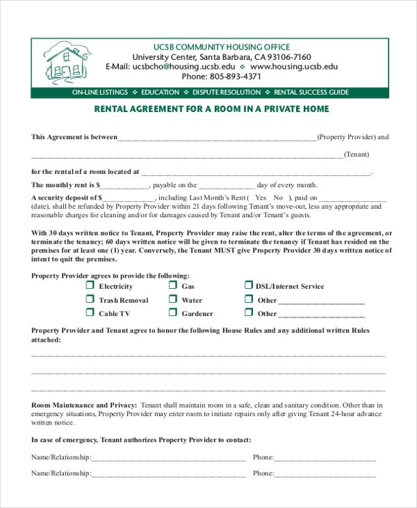 Sample Room Rental Form - 9+ Free Documents In Pdf
