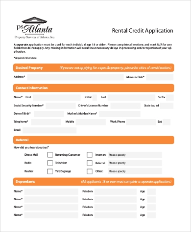 rental credit application