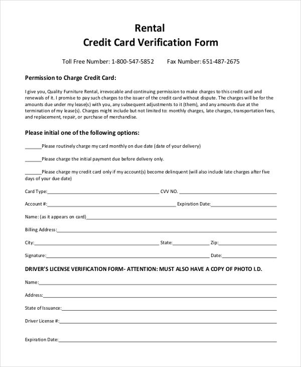 Rental Credit Card Verification Form