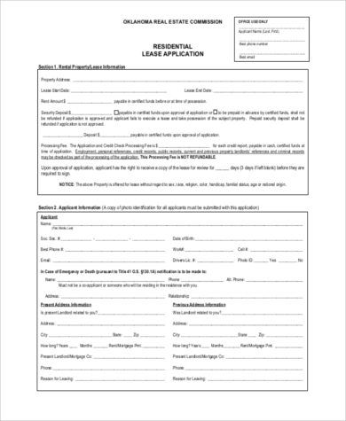 rental lease application pdf