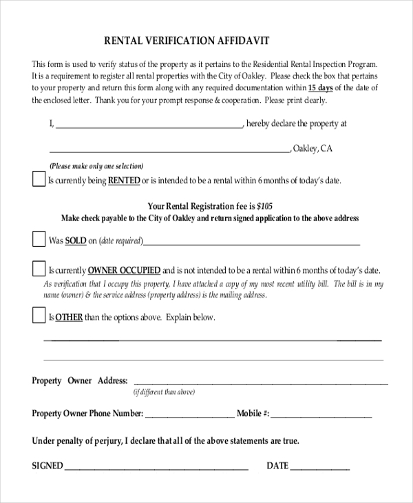 Sample Rental Verification Form 9 Free Documents in PDF – Landlord Verification Letter Sample