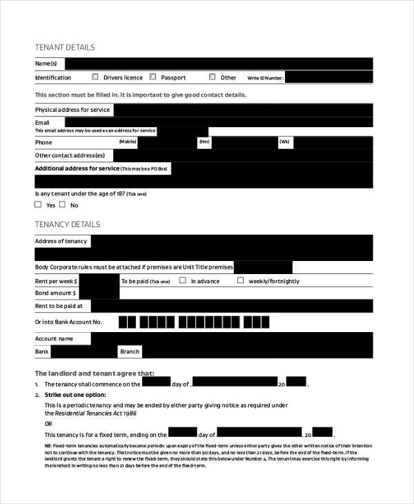 renters agreement form