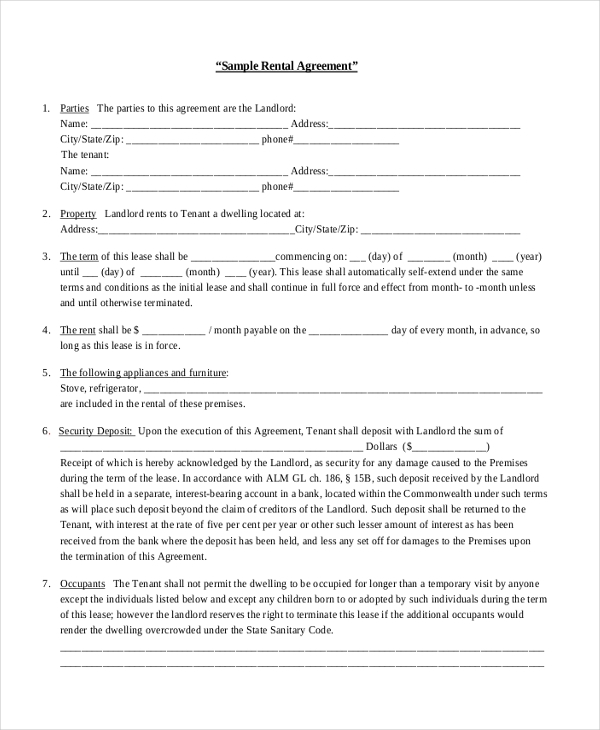 Sample Renters Agreement Form   Free Documents In Pdf