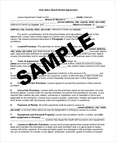Sample Rent Contract Form   Free Documents In Pdf Doc