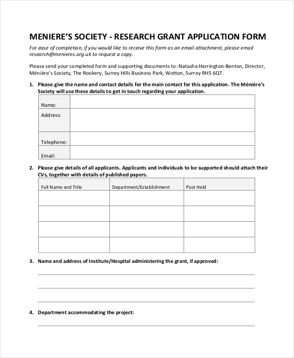 10+ Sample Grant Application Forms - Sample, Example, Format