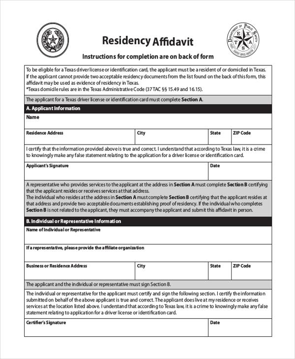 Sample blank affidavit form 9 free documents in pdf download residency affidavit blank form altavistaventures Image collections