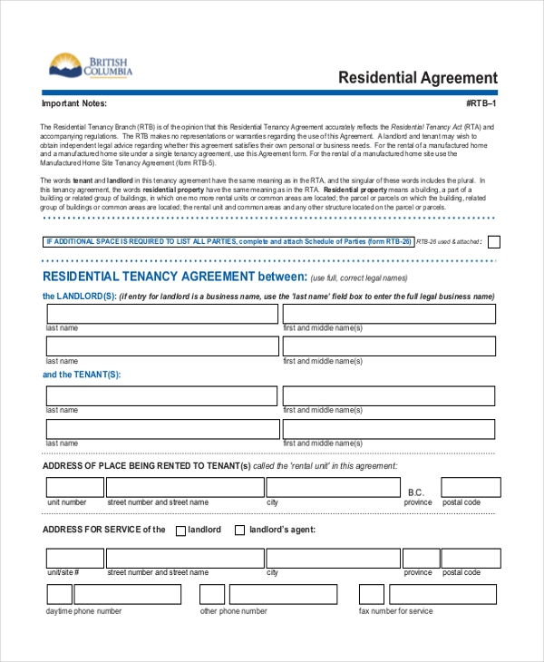 Sample Residential Agreement Form   Free Documents In Pdf