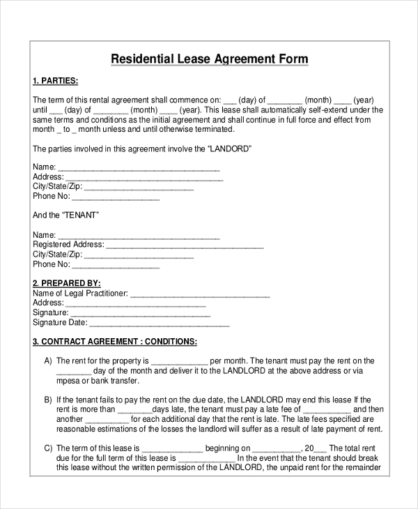 Sample Owner Operator Lease Agreement 10 Free DocumentsLease – Free Residential Lease