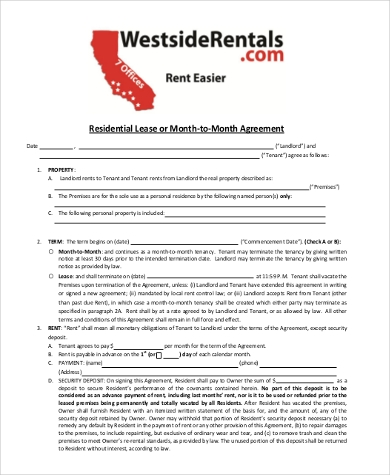 Residential Lease Agreement Month to Month