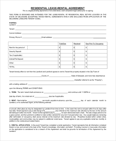 residential lease rental agreement