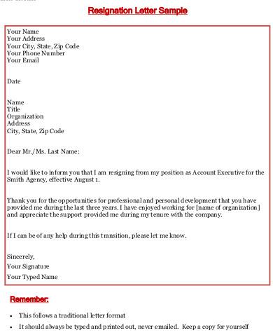 resignation letter samples