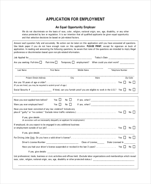 Sample Restaurant Application Forms  Sample Example Format
