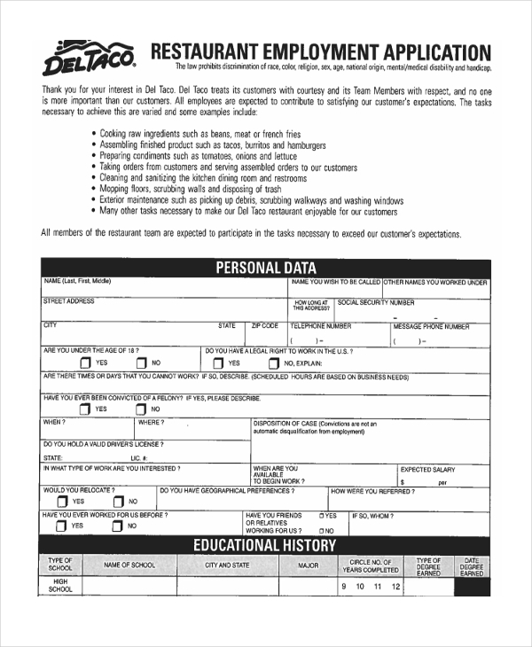 Sample Restaurant Application Form - 8+ Free Documents in PDF