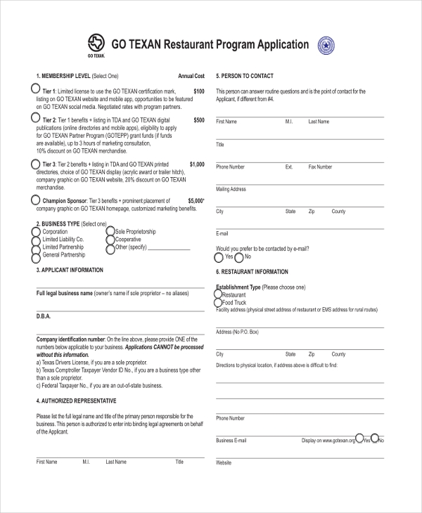 restaurant membership application