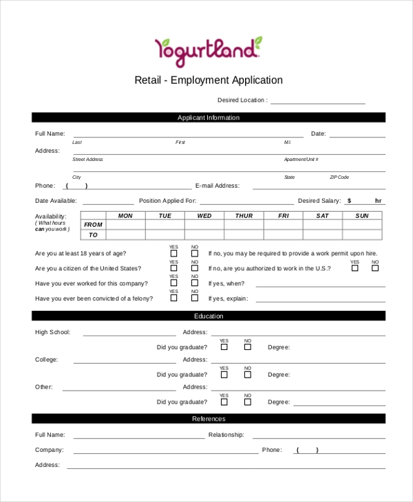 retail employment application