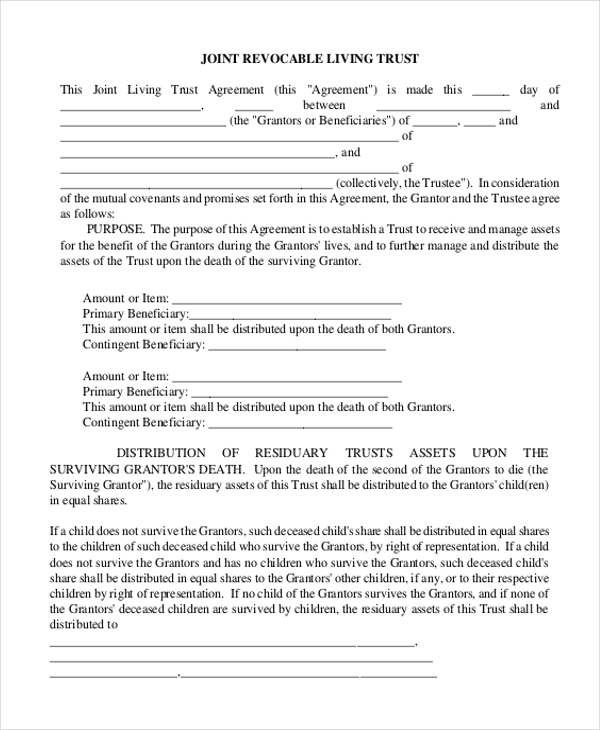 Sample Living Trust Form - 7+ Free Documents In Pdf