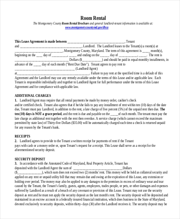 Sample Rental Agreement Form 10 Free Documents in Doc PDF – Tenant Agreement Form Free