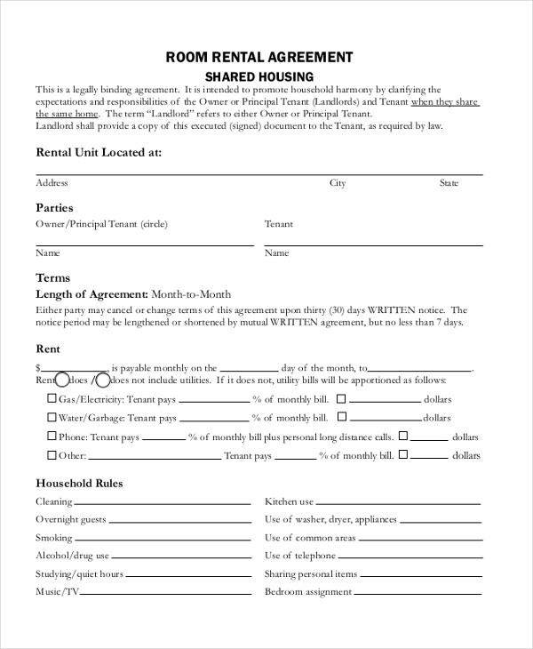 room rental agreement form pdf