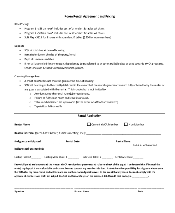 Room Rental Agreement And Pricing Form