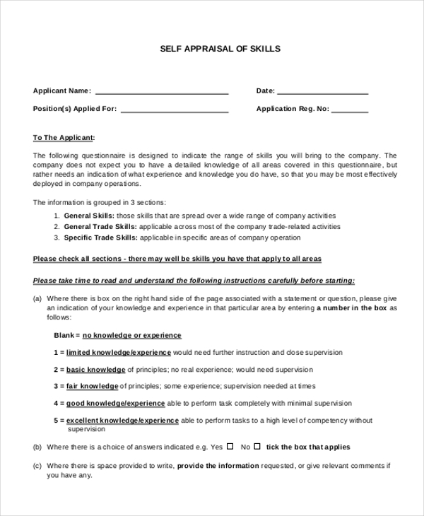Appraisal Form Example Safety Is Sure  To Be Present On An