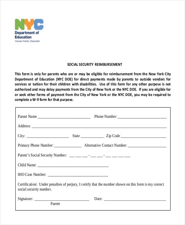 social security reimbursement form