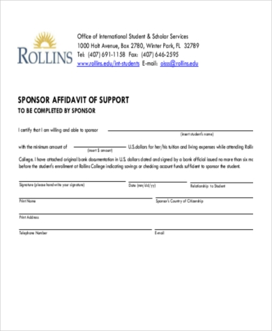 sponsor affidavit of support