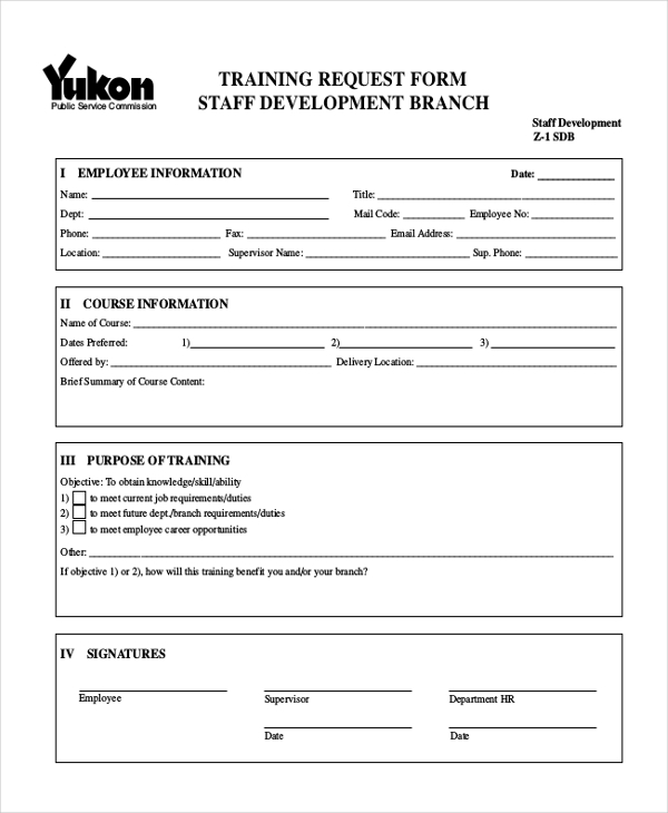 staff development training request form