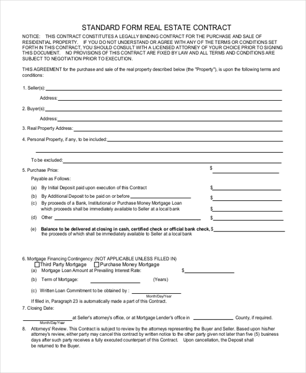 standard form real estate contract
