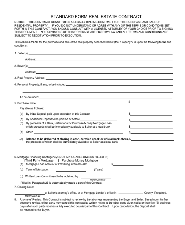 Sample Real Estate Agreement Form   Free Documents In Pdf