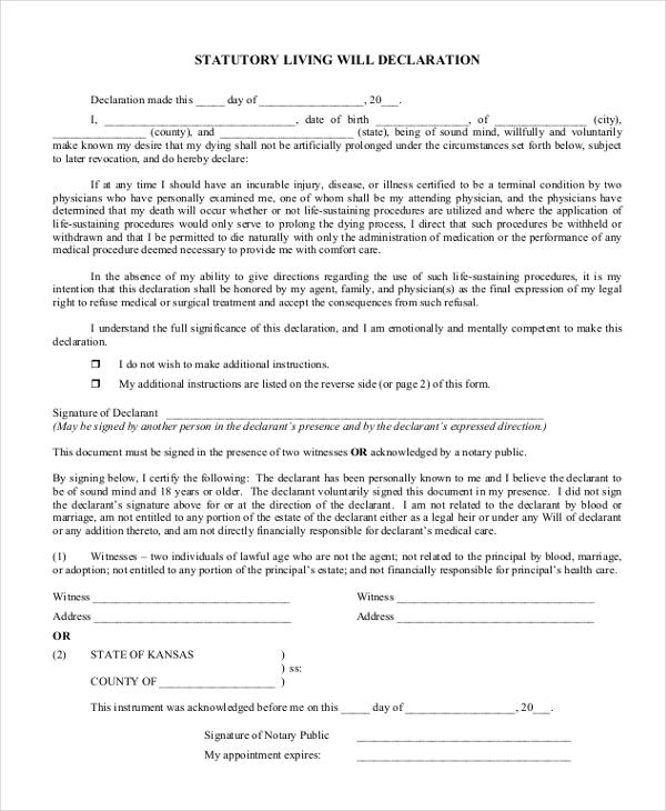 statutory living will declaration