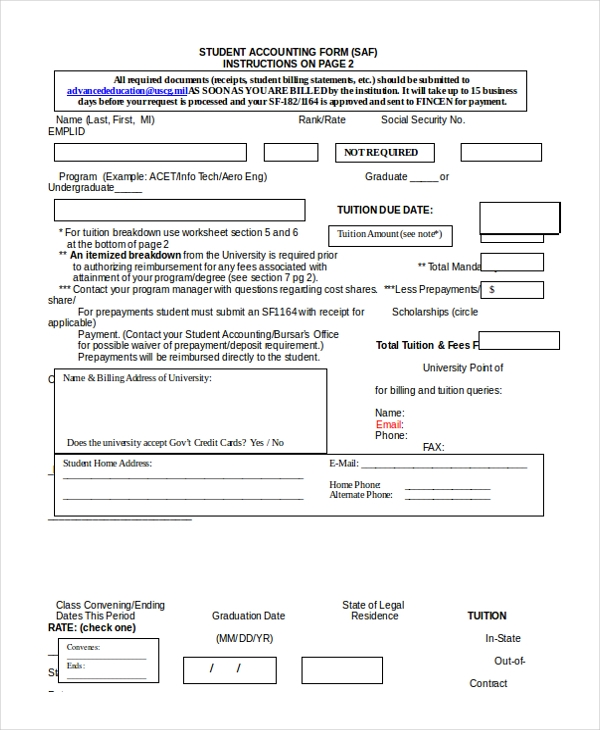 student accounting form