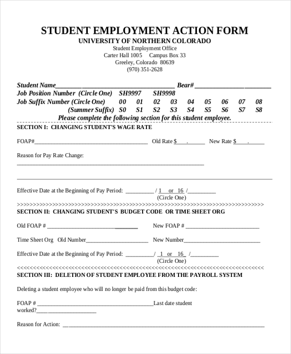 student employment action form1