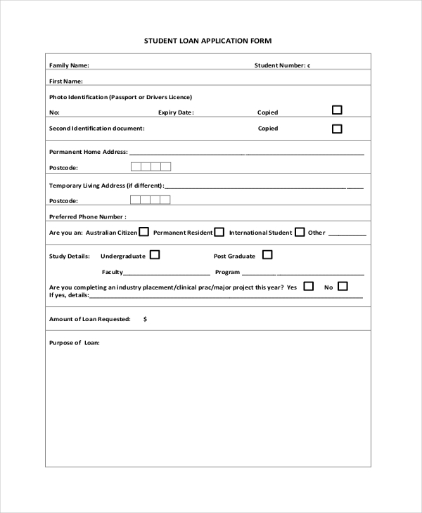 Sample Loan Application Forms  Sample Example Format