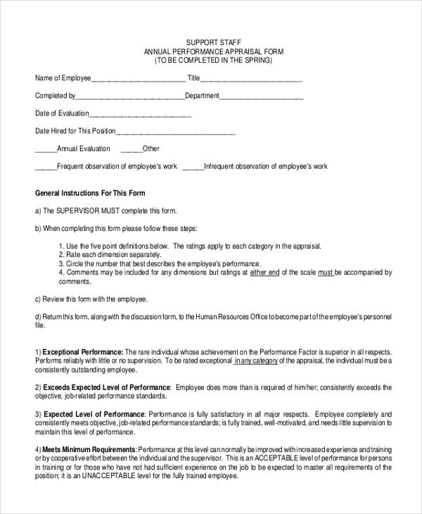 support staff appraisal form
