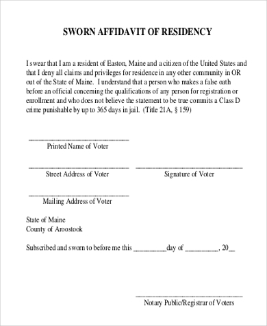 sworn affidavit of residency