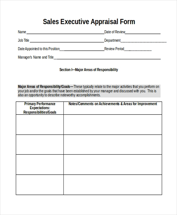 Sample Sales Executive Appraisal Form In Word  Free Appraisal Forms
