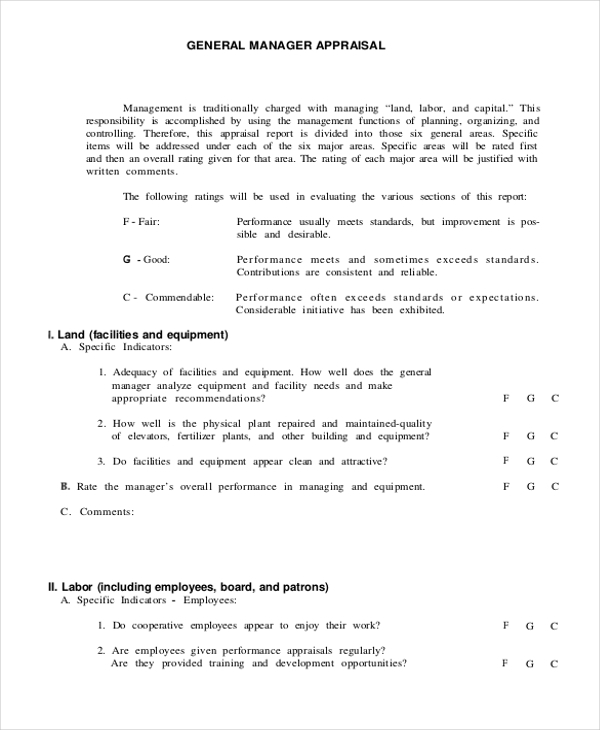 sales manager performance appraisal form