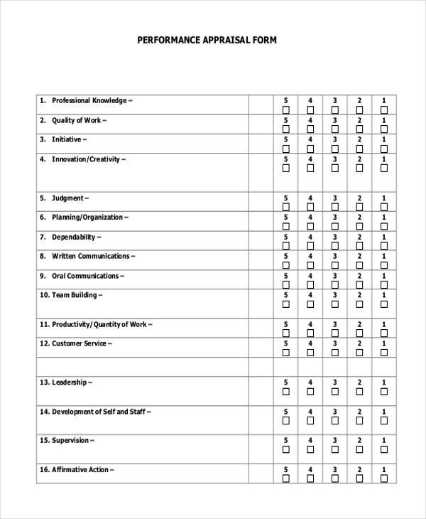 sales performance appraisal form
