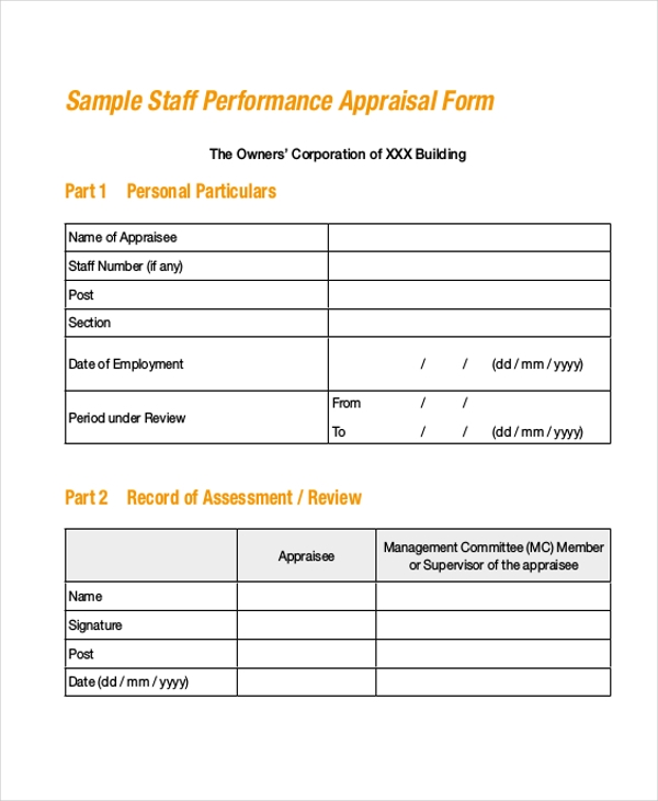 sales staff appraisal form