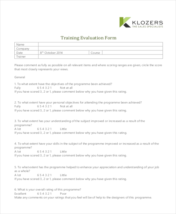 Sample Training Evaluation Form   Free Documents In Pdf Doc