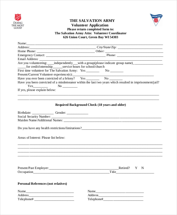 Sample Volunteer Application Forms  Free Sample Example  Format