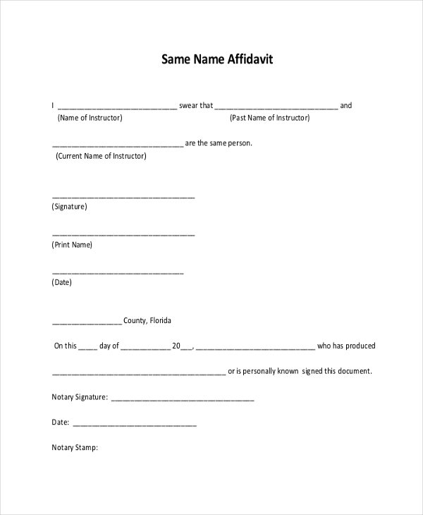 same name affidavit form free