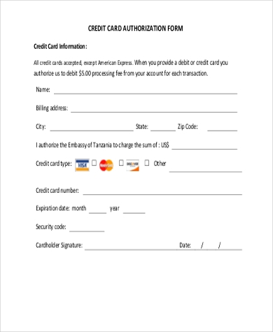 Credit Card Authorization Form Samples   Free Documents In