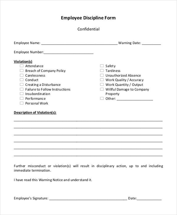 Sample Employee Discipline Forms   Free Documents In Pdf