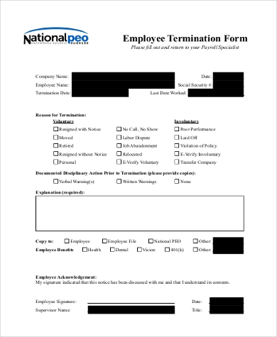 Sample Employee Termination Form  Employee Termination Template